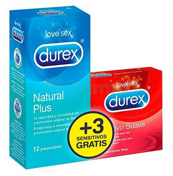 Preservativos Durex Natural Plus Easy On 12 Unidades   3 Preservativos Sensitivo Confort Gratis