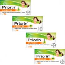 Pack Priorin 60 Capsulas Anticaida y Salud Capilar 4Udsx3